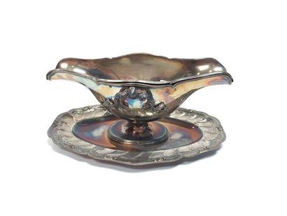 Saucière rocaille en argent avec son intérieur et deux attaches  Minerve, 950°/°°...
