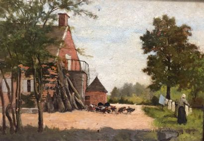Ecole Française du XIXème siècle  Paysanne...