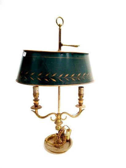 Lampe bouillote de forme ovale en bronze...