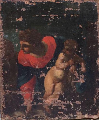 Elément de toile XVIIIème  Saint Jean Baptiste...