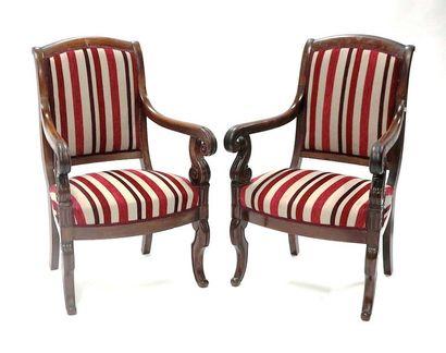 Paire de fauteuils en acajou et placage d'acajou,...