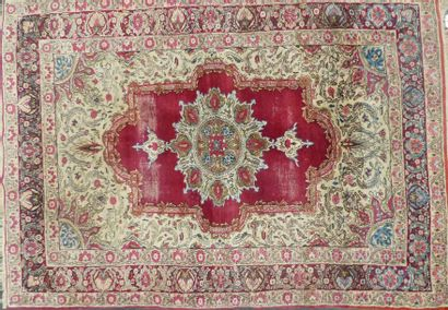 Tapis à fond rouge  226 x 130 cm