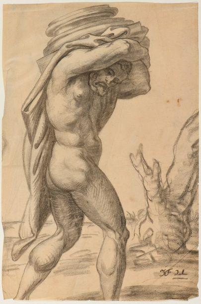 Jean Baptiste FRENET (Lyon 1859 - Charly 1929)  Hercule portant une colonne  Fusain...