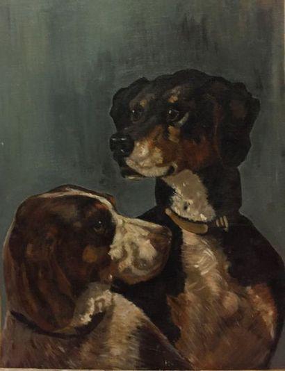 Ecole du XXe siècle  Les deux chiens  Huile sur toile marouflée sur carton  61 x...