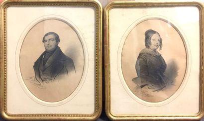 Pierre SENTIES (1801- ?)  Portrait d'un couple...