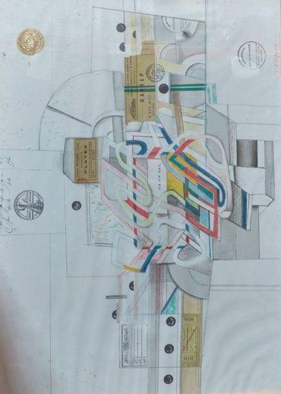 Ecole du XX ème, STEINBERG  Composition  Collages...