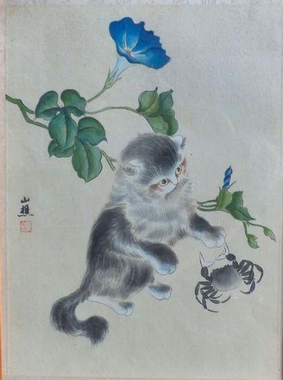 Ecole Chinoise fin XIX début XX ème  Chat...
