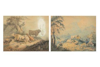 Syd. EDWARDS  Paysage pastoral au troupeau  Deux gouaches ou aquarelles  Une signé...