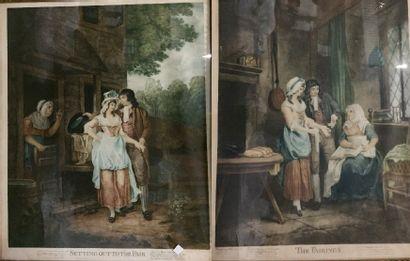 The Fairings  Setting out to the fair  Paire de gravures  55 x 44 cm