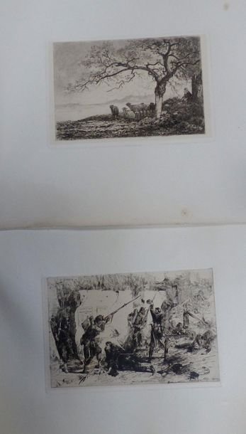 Deux gravures :  -Affaire Chatillon, SBD...