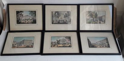 Lot de huit gravures polychromes de monuments...
