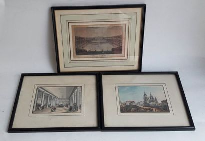 Lot de huit gravures polychromes de monuments et scènes de genre  9,8 x 14,5 cm...