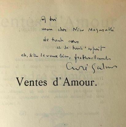 SALMON (André) & MODIGLIANI. Ventes d'Amour. Paris, Bernouard, 1921.  In-4 broché,...