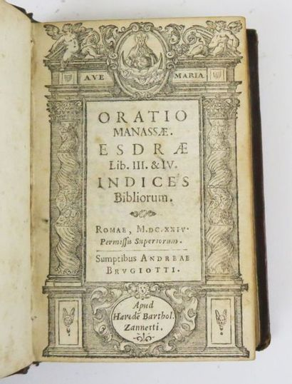 [Bible]. Oratio Manassae. Esdrae Lib. III & IV. Indices Bibliorum. Roma, Brugiotti,...