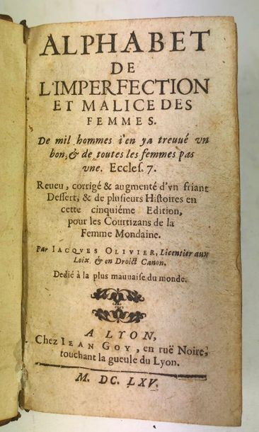 OLIVIER (Jacques). Alphabet de l'imperfection...