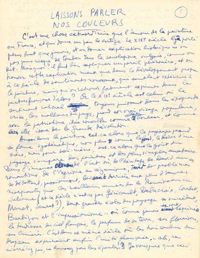 ARAGON (Louis). MANUSCRIT AUTOGRAPHE signé...