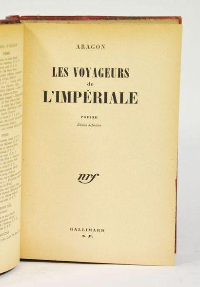 ARAGON (Louis). Les Voyageurs de l'Impériale. Paris, nrf, 1947.  In-8 ½ basane rouge,...