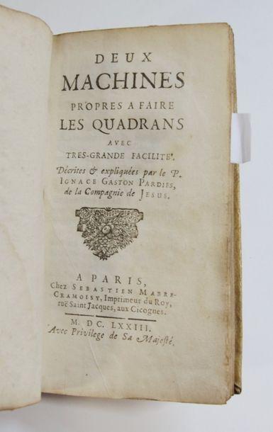 PARDIES (Ignace Gaston). Deux Machines propres...