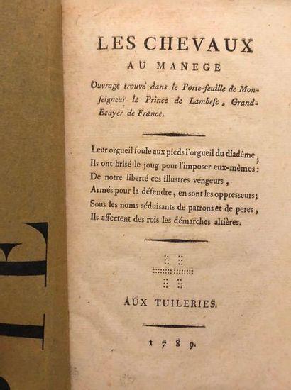 Anonyme. Les Chevaux au manège, ouvrage trouvé...