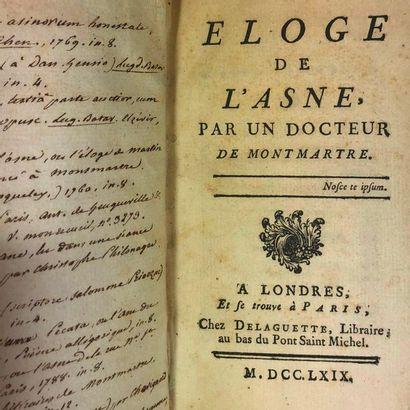 [CAJOT (Dom Jean-Joseph)]. Eloge de l'Asne,...