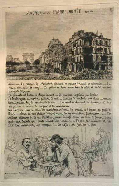 MARTIAL (M.V.). Paris sous la Commune. Paris, Cadart et Luce, [1871].  In-folio...