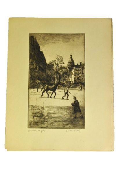 VALLIN (Robert). La Ville. (Le Vieux Paris). Paris, Porcabeuf, 1914.  In-folio en...