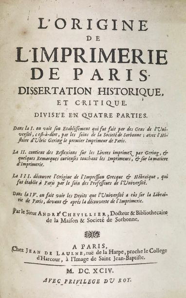 CHEVILLIER (André). L'Origine de l'imprimerie...