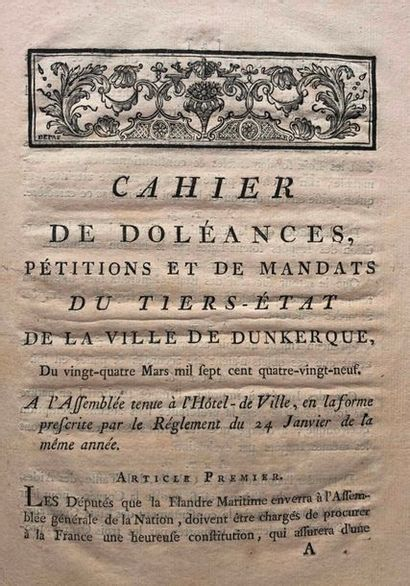 Dunkerque. Lot de 4 plaquettes XVIIIe siècle concernant Dunkerque, in-4 cartonnage...