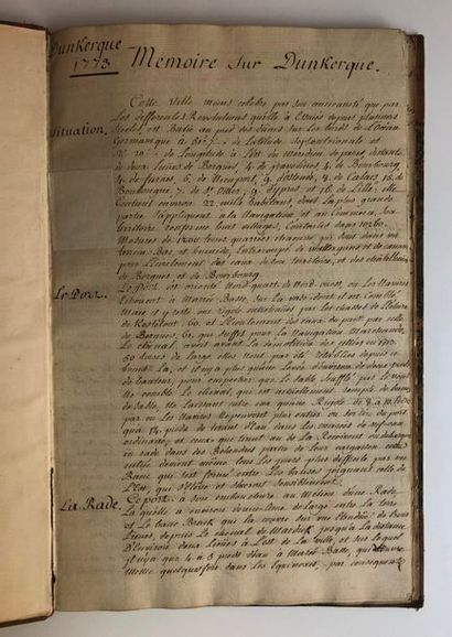 "Dunkerque. Manuscrit original ""Mémoire sur Dunkerque"", 1773.  (25) pp. manuscrites...."