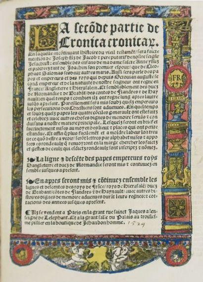 Cronica Cronicarum. abbrege et mis par figures descentes et rondeaulx, contenant...