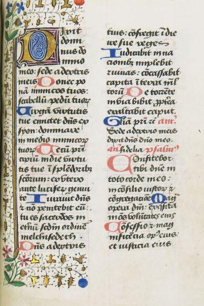 Manuscrit fin XIVe siècle. 198 ff. manuscrits sur vélin (calendrier 12 ff., 1 f....