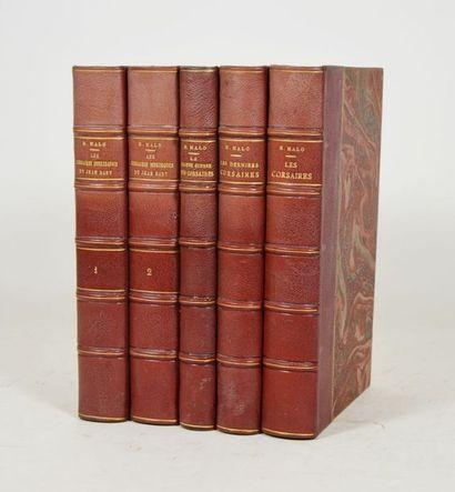 [Corsaires - MALO (Henri)]. 5 vol. in-8 ½...