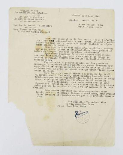 [S.T.O.]. Très curieux document tapuscrit...