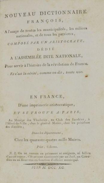 Anonyme. Nouveau dictionnaire françois, à...