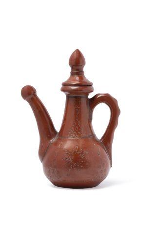 Service de Tophané En terre cuite orange vernissée, les tasses à étroit talon court,...
