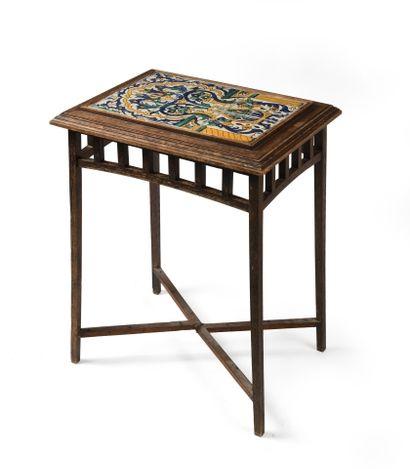 Table à décor de panneau de Chemla rectangulaire à quatre pieds, en bois, le plateau...