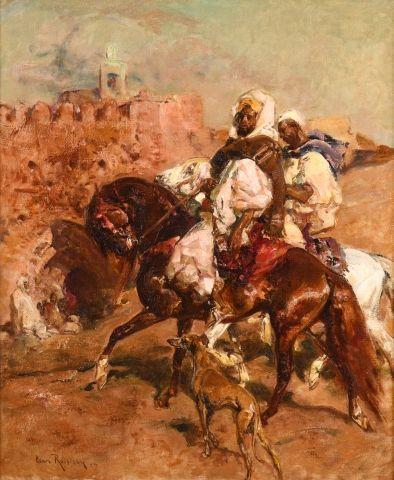 Henri ROUSSEAU (La Caire 1875 - Aix en Provence 1933) Cavalier marocain et son sloughi...