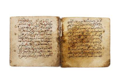 Partie de Coran Andalou Manuscrit en arabe, de 6 feuillets sur parchemin, calligraphié...