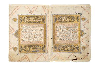 Double page de Coran mamlouque Manuscrit...