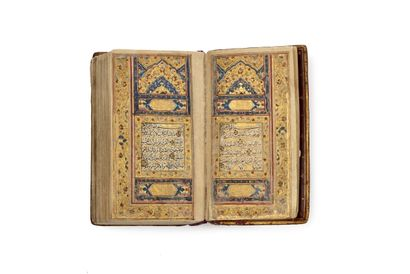 Coran Qajar de poche Manuscrit arabe sur...