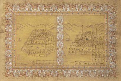 Double page d'un Dalâïl al-Khayrat peint...