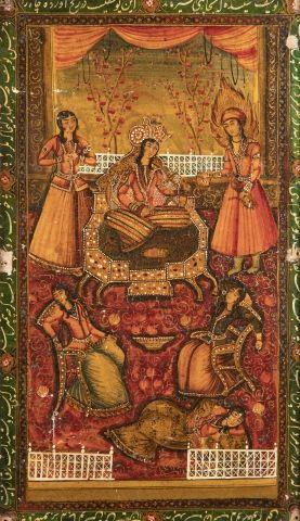Yusuf wa Zulaykha Panneau Qajar en papier-mâché...