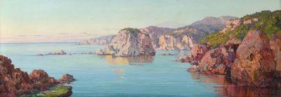 Eugène DESHAYES (Alger 1862 - 1939) La corniche,...