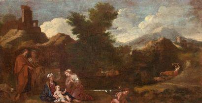 Ecole FRANCAISE vers 1660  La fuite en Egypte...