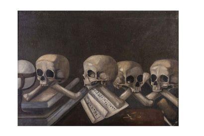 Ecole ESPAGNOLE du XVIIe siècle  Les crânes...