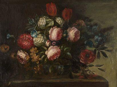 Ecole ITALIENNE vers 1950  Bouquet de fleurs...