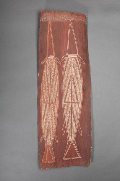 Peinture sur écorce présentant deux espadons...
