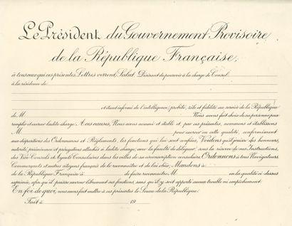 Lettre du Gouvernement Provisoire de la République...