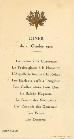 France. Menu du dîner du 11 octobre 1929...