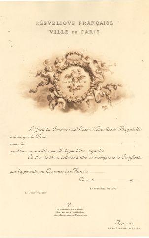 Certificat de récompense au Concours des...